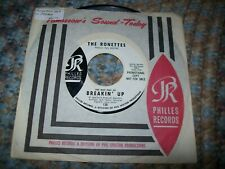 """RONETTES-Breakin' Up 7"""" 45 Vinyl (PROMO) 1964 Ronnie Spector Girl Group Philles"""