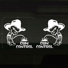 "Gun Control Pissing Cowboy 6.5"" WHITE Set of 2 Decals Stickers Freedom Bare Arms"