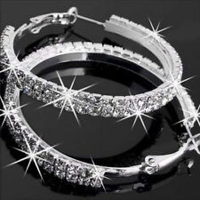 Sparkly Diamante Rhinestone Round Hoop Earrings Wedding/Bridal/Prom Jewellery
