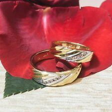 0.25CT 14K Two Tone Gold His Hers Matching Diamond Wedding Band Ring Mens Womens
