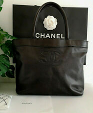 Chanel Black CC Logo Caviar Leather Handbag Tote Bag