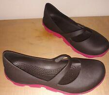 Crocs Mary Jane Flats Women's 7 Brown Pink Shoe