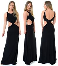 Womens Cut Out Side Front Twist Club Long Black FULLY LINED Maxi Dress.