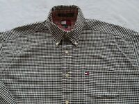 Tommy Hilfiger Mens Cotton LS Button Down Navy White Checkered Dress Shirt Large