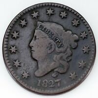 1827 Large Cent Very Good VG Condition, All Brown Color
