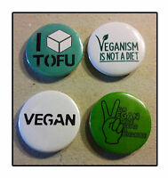 4 x VEGAN Badge set Pin Button 25mm veggie protest liberation tofu alf healthy