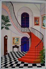 FANCH LEDAN INTERIOR WITH RED STAIRCASE SERIGRAPH SIGNED #429/450 W/COA 23X34