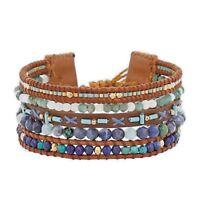 Chan Luu Jewelry Turquoise Mix Multi Strand Pull Tie Leather Bracelet Adjustable