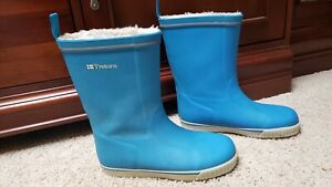 Tretorn Blue Rubber Mid-Calf Pull-On Women's Rain Boots Size 38 (US 7.5 M)