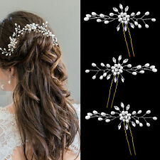 3X Wedding Bridal Crystal Hair Pins Flower Pearl Rhinestone Bridesmaid Side Clip
