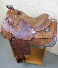 "15"" MacPherson Western Saddle Sterling Silver & Turquoise Work Of Art"