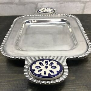 """Mexican Pewter Metal Serving Tray Porcelain Handle Accents 11.5"""" X  7.5"""""""