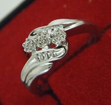 Sterling Silver 0.30 TCW NATURAL PAVE DIAMONDS RING Size 6.75