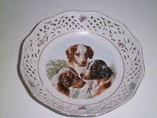 Schumann Arzberg Germany Reticulated Antique Porcelain Bowl Dogs/Spaniels Flower