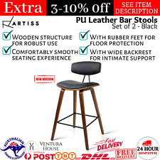 2x Wooden Bar Stools Kitchen Barstool Dining Chair Cafe Wood Black 8782 RTS