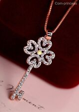 18K GP Rose Gold Plated AB Crystal Element Key Flower Love Heart Necklace