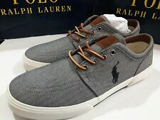 Polo Ralph Lauren Faxon Low Grey Chambray Herringbone Men's Shoe Size 12