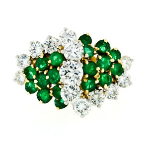 Tiffany & Co. 18k Gold Platinum 4.61ctw Round Cut Diamond & Emerald Cluster Ring
