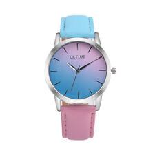 Fashion Women Girls Retro Rainbow Leather Band Ladies Analog Quartz Wrist Watch