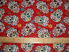 Cotton Fabric Dia De Los Muertos Calaveras Sugar Skulls on RED  BTY