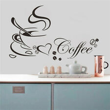 Removable Kitchen Home Decor Coffee Cup Heart Decals Vinyl Art Wall Sticker