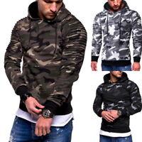 Mens Hooded Hoodie Sweatshirt Camouflage Pullover Casual Fleece Hoodie