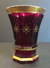 ANTIQUE BOHEMIAN CZECH RUBY GLASS GILT DECORATED BEAKER / TUMBLER