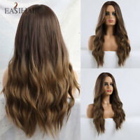 Long Dark Brown Ombre Synthetic Hair Wigs For Women Glueless Wavy Heat Resistant
