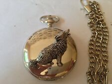 C18 Wolf  polished silver case mens GIFT quartz pocket watch fob