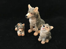 Vintage Wolf & Pups - Nice 3 Piece Set - Wolves Den Pack - Excellent Condition