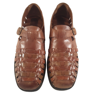 STACY ADAMS Mens Large Unsized Fisherman Brown Woven Leather Strap Sandal Buckle