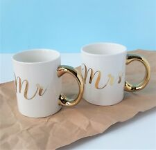 Mr Mrs Gold Mug Set Wedding Gift Cup Home Anniversary Tea Coffee Gift ty