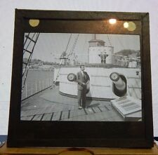 Antique Glass slide Chilean navy Ship Monitor Huascar Man posing on Deck 1930's