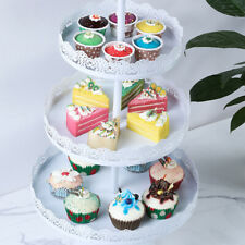 3 Tier Cake Cupcake Stand Tray Crystal Dessert Display Tower Plate Metal White