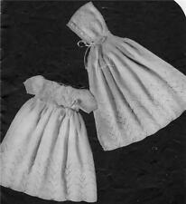 VINTAGE DRESS & CLOAK 3 to 6 months - 4ply - COPY baby knitting pattern