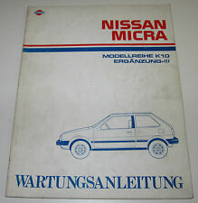 Werkstatthandbuch Ergänzung Nissan Micra K10 / K 10 Stand Juli 1987!