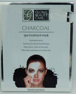 2 Pack Of Global Beauty Care Charcoal Masks Anti-Aging Serum Nourish Moisturizes