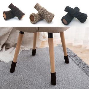 4PCS Chair Leg Socks Knit Non-Slip Protector Table Floor Furniture Feet Covers