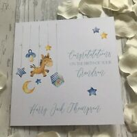 Personalised Handmade New Baby Card Boy Girl New Parents Grandparents Keepsake