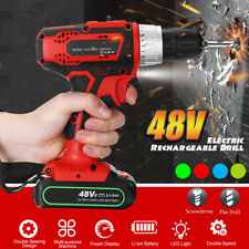 48V 2 Speed Cordless Rechargeable Battery Electric Drill LED Impact