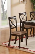Set of 6 Boston microfiber padded dinette kitchen dining chairs in cappuccino