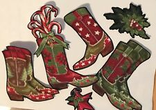 Christmas Cowboy Boots - Iron On Fabric Appliques - Holiday Craft Show
