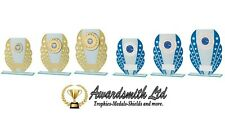 TRI STAR GOLD or BLUE 5mm Glass TROPHY AWARD 3 SIZES FREE ENGRAVING and logo