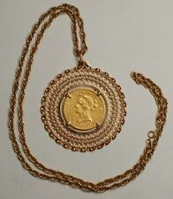 "Beautiful 1887-S $10 Gold Eagle in 18K Pendant & 14K Necklace 24"" Coin Jewelry"