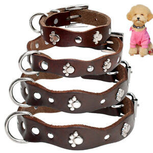 Studded Brown Leather Dog Collars with Metal Paw for Puppy Chihuahua XXS XS S