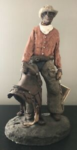 DANIEL MONFORT Original Hydrostone Black Cowboy Sculpture RARE Collectible