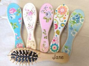 Personalised Wooden Hairbrush, Hand decorated Painted Brush, floral chic gift