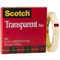 "3M Scotch Transparent Tape, 1/2"" x 2592"", 1/Roll - Model 600"