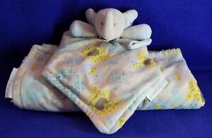 Blankets & Beyond teal grey yellow elephant  blanket & Pacifier holder lovey Set