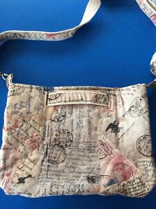 Handmade Quilted Fully Lined Organiser Crossbody Vintage Stamps Design Bag - NEW